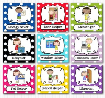 Editable Classroom Jobs Helpers Kids Bright Multicolored