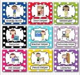 Editable Classroom Jobs Helpers - Kids Bright Multicolored Polka Dots - 40 Cards
