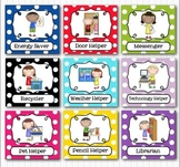 Editable Classroom Jobs Helpers - Kids Bright Multicolored Polka Dots - 40 Cards