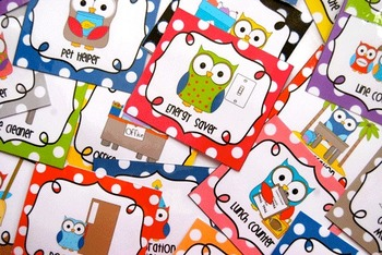 Editable Classroom Jobs Helpers - Owls Bright Multicolored Polka Dots - 33 cards