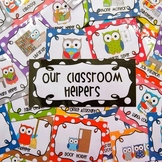 Editable Classroom Jobs Helpers - Owls Bright Multicolored