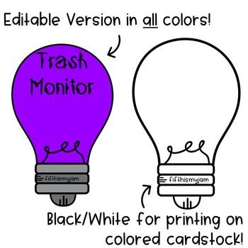 Editable Classroom Jobs // Lightbulbs