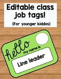 Editable Classroom Jobs Tags