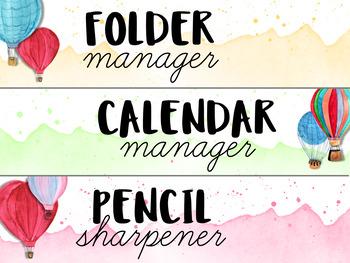 Editable Classroom Jobs {Watercolor Hot Air Balloon Theme}