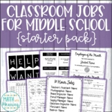 Editable Classroom Jobs for Middle School Starter Pack - Classroom Economy