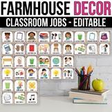 Editable Classroom Jobs with Pictures, Modern Farmhouse Classroom Decor