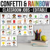 Editable Classroom Jobs with Pictures, Rainbow Classroom Decor