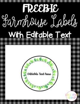 Editable Classroom Label- Farmhouse Style FREEBIE