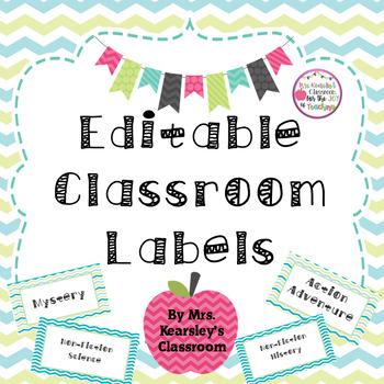 Editable Classroom Labels (Blue/Aqua Chevron Theme)