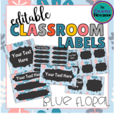 Editable Classroom Labels | Blue Floral