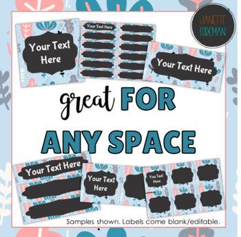 Editable Classroom Labels   Blue Floral