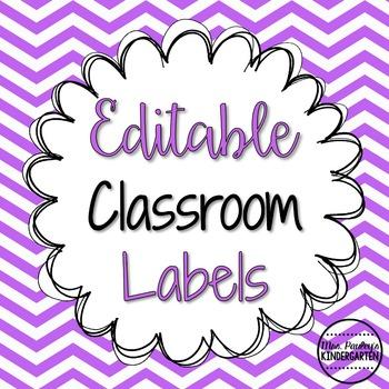Editable Classroom Labels {Bright Polka Dots & Chevron}