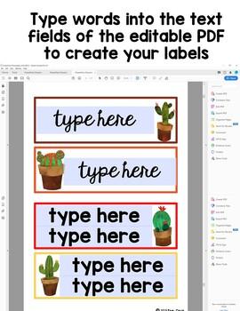 Editable Classroom Labels:  Cactus Theme