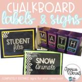 Editable Classroom Labels *Chalkboard Theme*