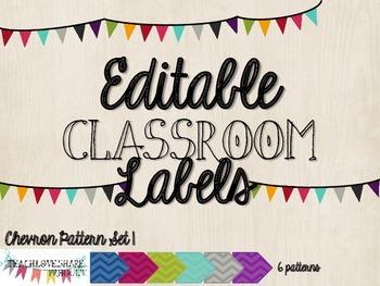 Editable Classroom Labels [Chevron Patterns Set 1]