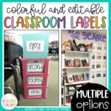 Editable Classroom Labels Colorful Classroom Decorations