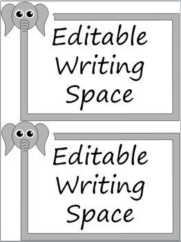 Editable Classroom Labels: Elephants