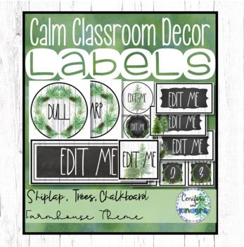 Editable Classroom Labels - Farmhouse Shiplap, Forest, Classroom Decor
