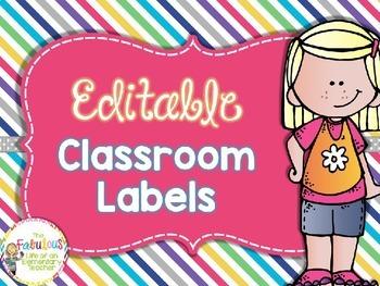 Editable Classroom Labels {Freebie}