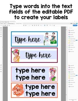 Editable Classroom Labels: Frida & Flowers Theme