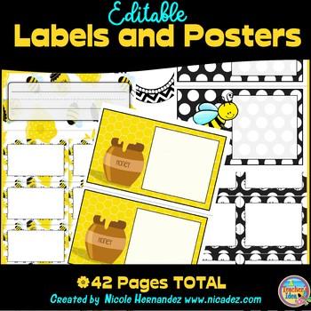 Editable Classroom Labels {Honey Bee Themed}