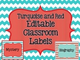Editable Classroom Labels: Library basket, Storage Bin, and Hanging Group Sign