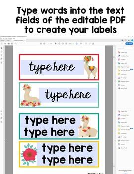 Editable Classroom Labels:  Llama Theme (Color Version)