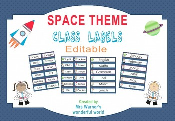 Editable Classroom Labels - Name tags - Space theme