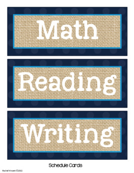 Editable Classroom Labels {Navy, Burlap, Turquoise Decor}
