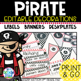 Pirate Editable Labels, Desk Plates & Banners: White/Chalkboard Centers