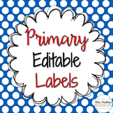 Editable Classroom Labels {Primary Colored}