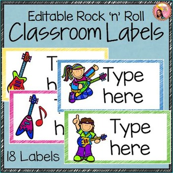 Editable Classroom Labels - Rock 'n' Roll Theme