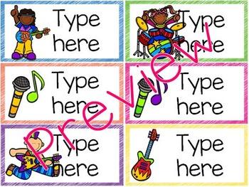 Editable Classroom Labels - Rock 'n' Roll Theme