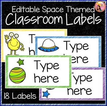 Editable Classroom Labels - Space Theme