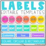 Editable Classroom Labels   Spotty Neon Rainbow Classroom Decor