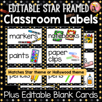 Editable Classroom Labels - Star Borders with pictures