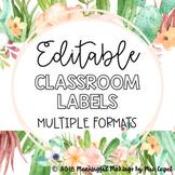 Editable Classroom Labels; Succulent Floral Theme