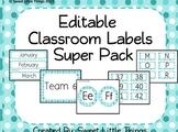 Editable Classroom Labels Super Pack-Light Blue Polka Dots