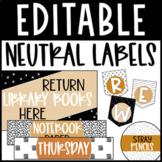 Editable Classroom Labels - Warm Neutral Color Scheme