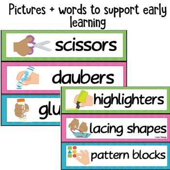 Editable Classroom Labels Wavy Theme
