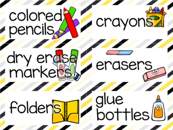 Editable Classroom Labels - Yellow and Black Borders with pictures