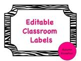 Editable Classroom Labels - Zebra Print