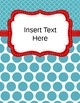 Editable Classroom Labels and Binder Covers Red and Aqua Includes Spine Labels