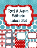 Editable Classroom Labels and Binder Covers Red and Aqua I
