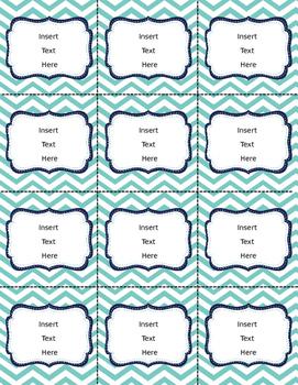 Editable Classroom Labels and Binder Covers coral, aqua, navy