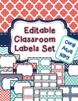 Editable Classroom Labels & Binder Covers coral aqua navy *Includes spine labels