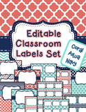 Editable Classroom Labels & Binder Covers coral aqua navy