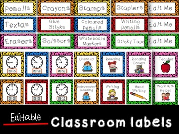 Editable Classroom Labels and Daily Schedule/timetable