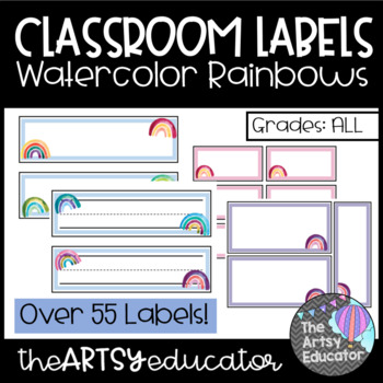 Editable Classroom Labels and Name Tags -- Watercolor Rainbows
