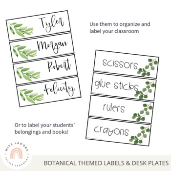 Editable Classroom Labels and Student Desk Plates | Botanical Classroom Decor